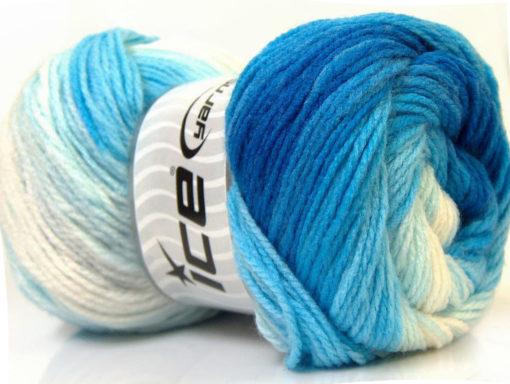 Lot of 4 x 100gr Skeins Ice Yarns MAGIC LIGHT Yarn Blue Shades White