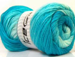 Lot of 4 x 100gr Skeins Ice Yarns MAGIC LIGHT Yarn Turquoise Shades White