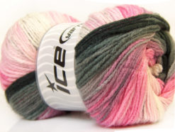 Lot of 4 x 100gr Skeins Ice Yarns MAGIC LIGHT Yarn Black Orchid Pink White Grey