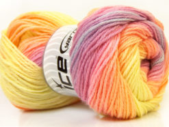 Lot of 4 x 100gr Skeins Ice Yarns MAGIC LIGHT Yarn Orchid Pink Orange Yellow
