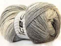 Lot of 4 x 100gr Skeins Ice Yarns MAGIC GLITZ Yarn Black Grey White Silver
