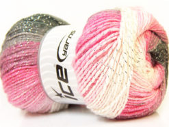 Lot of 4 x 100gr Skeins Ice Yarns MAGIC GLITZ Yarn Grey Pink Lilac White Silver