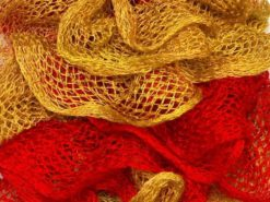 Lot of 4 x 100gr Skeins Ice Yarns BALLERINA Ruffle Scarf Yarn Red Gold