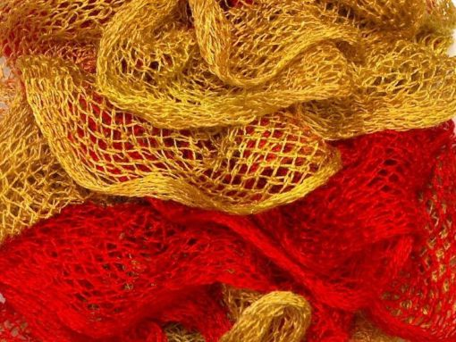 Lot of 4 x 100gr Skeins Ice Yarns BALLERINA Ruffle Scarf Yarn Red Gold