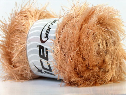 Lot of 4 x 100gr Skeins Ice Yarns EYELASH 100GR Hand Knitting Yarn Light Brown