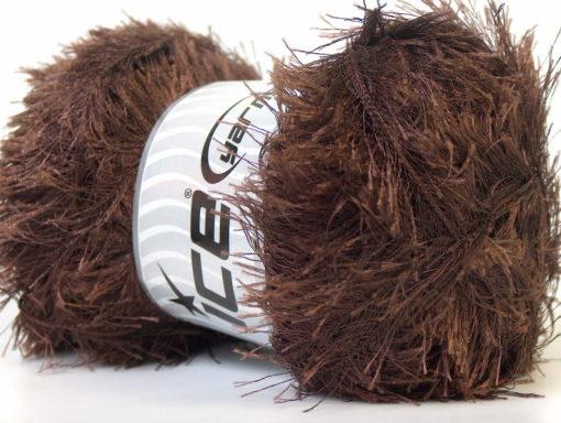 Lot of 4 x 100gr Skeins Ice Yarns EYELASH 100GR Hand Knitting Yarn Dark Brown
