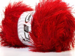 Lot of 4 x 100gr Skeins Ice Yarns EYELASH 100GR Hand Knitting Yarn Red