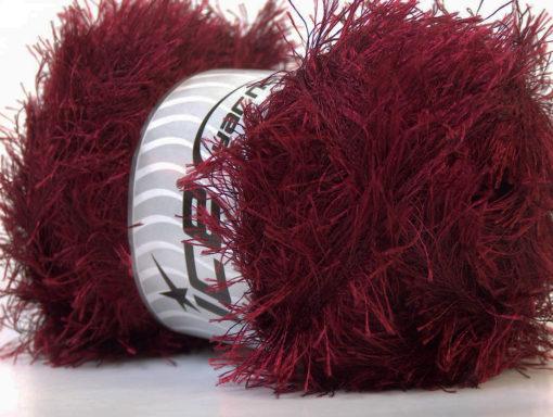 Lot of 4 x 100gr Skeins Ice Yarns EYELASH 100GR Hand Knitting Yarn Dark Red