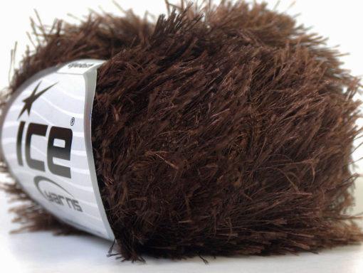 Lot of 8 Skeins Ice Yarns EYELASH Hand Knitting Yarn Dark Brown