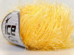 Lot of 8 Skeins Ice Yarns EYELASH Hand Knitting Yarn Light Yellow
