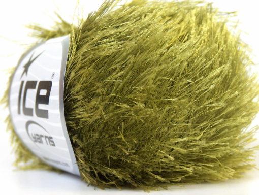 Lot of 8 Skeins Ice Yarns EYELASH Hand Knitting Yarn Olive Green