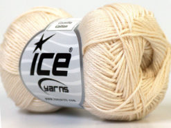 Lot of 6 Skeins Ice Yarns CAMILLA COTTON (100% Mercerized Cotton) Yarn Cream