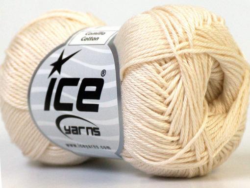 Lot of 6 Skeins Ice Yarns CAMILLA COTTON (100% Mercerized Cotton) Yarn Cream