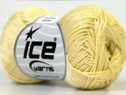 Lot of 6 Skeins Ice Yarns CAMILLA COTTON (100% Mercerized Cotton) Yarn Light Yellow
