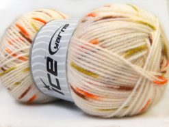 Lot of 4 x 100gr Skeins Ice Yarns BABY SPOT Yarn White Brown Green Orange