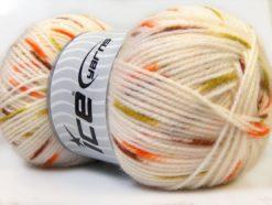 Lot of 4 x 100gr Skeins Ice Yarns BABY SPOT Yarn White Brown Green Orange