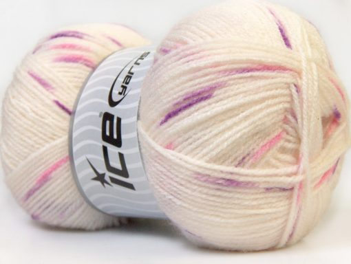 Lot of 4 x 100gr Skeins Ice Yarns BABY SPOT Yarn White Purple Fuchsia