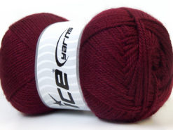 Lot of 4 x 100gr Skeins Ice Yarns DORA Hand Knitting Yarn Burgundy