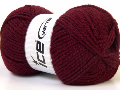 Lot of 4 x 100gr Skeins Ice Yarns Worsted FAVORITE Hand Knitting Yarn Burgundy