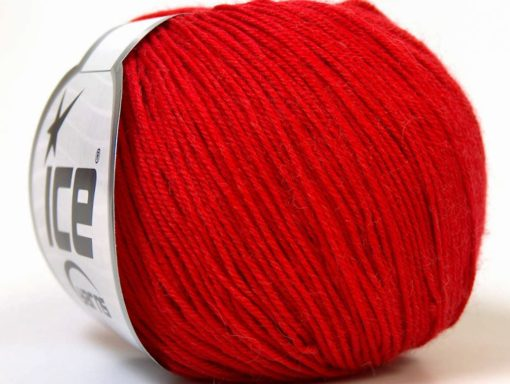Lot of 6 Skeins Ice Yarns BABY MERINO (40% Merino Wool) Hand Knitting Yarn Red