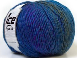 Lot of 4 x 100gr Skeins Ice Yarns MIRAGE COLOR (50% Wool) Yarn Purple Blue Khaki