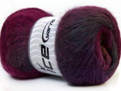 Lot of 4 x 100gr Skeins Ice Yarns MADONNA (40% Wool 30% Mohair) Yarn Maroon Purple Olive Green
