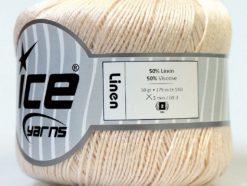 Lot of 6 Skeins Ice Yarns LINEN (50% Viscose) Hand Knitting Yarn Cream