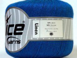 Lot of 6 Skeins Ice Yarns LINEN (50% Viscose) Hand Knitting Yarn Bright Blue