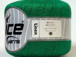 Lot of 6 Skeins Ice Yarns LINEN (50% Viscose) Hand Knitting Yarn Green