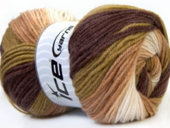 Lot of 4 x 100gr Skeins Ice Yarns BABY BATIK Yarn Brown Green Camel White