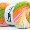 Lot of 4 x 100gr Skeins Ice Yarns BABY BATIK Yarn Green Orange Pink Yellow White