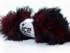 Lot of 3 x 100gr Skeins Ice Yarns SMOOTH FUR Hand Knitting Yarn Red Black