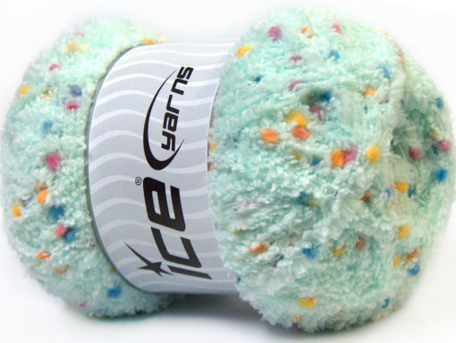 Lot of 4 x 100gr Skeins Ice Yarns PUFFY POMPOM (85% MicroFiber) Yarn Mint Green