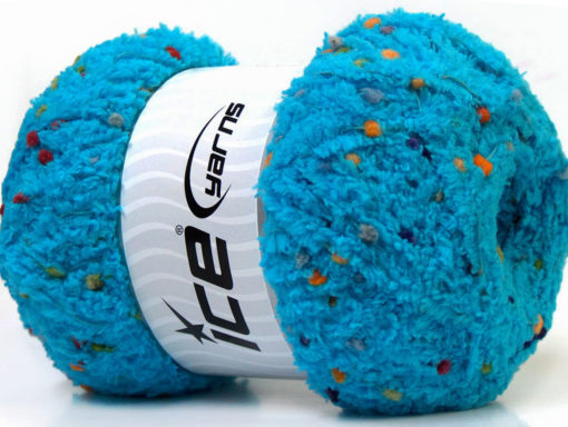 Lot of 4 x 100gr Skeins Ice Yarns PUFFY POMPOM (85% MicroFiber) Yarn Turquoise