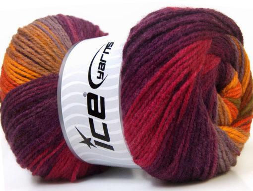 Lot of 4 x 100gr Skeins Ice Yarns MAGIC LIGHT Yarn Purple Lilac Yellow Orange