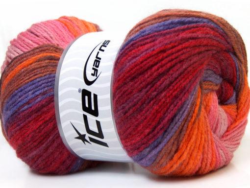 Lot of 4 x 100gr Skeins Ice Yarns MAGIC LIGHT Yarn Burgundy Red Orange Brown Shades