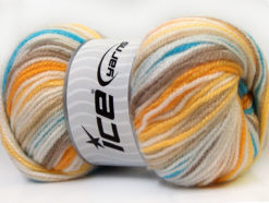 Lot of 4 x 100gr Skeins Ice Yarns GUMBALL Yarn Camel Yellow White Blue