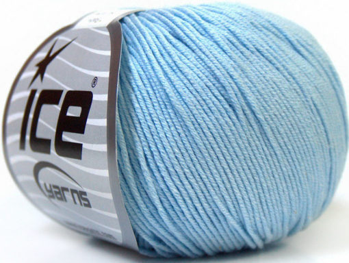 Lot of 8 Skeins Ice Yarns BABY SUMMER (60% Cotton) Hand Knitting Yarn Baby Blue