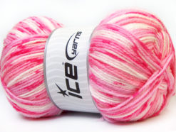 Lot of 4 x 100gr Skeins Ice Yarns CANDY BABY Yarn Pink Shades White