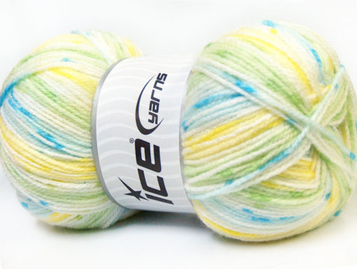 Lot of 4 x 100gr Skeins Ice Yarns CANDY BABY Yarn Yellow Green Blue White