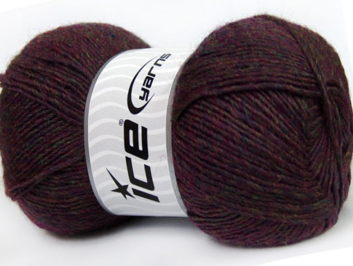 Lot of 4 x 100gr Skeins Ice Yarns MIRAGE (50% Wool) Yarn Maroon Melange