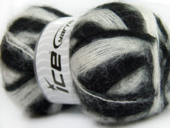 Lot of 4 x 100gr Skeins Ice Yarns BERMUDA MOHAIR (70% Mohair) Yarn Black White