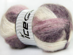 Lot of 4 x 100gr Skeins Ice Yarns BERMUDA MOHAIR (70% Mohair) Yarn Purple Lilac White