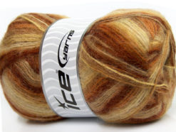 Lot of 4 x 100gr Skeins Ice Yarns ANGORA SUPREME COLOR (70% Angora) Yarn Brown Shades Yellow White