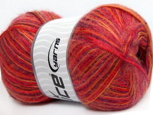 Lot of 4 x 100gr Skeins Ice Yarns ANGORA SUPREME COLOR (70% Angora) Yarn Purple Red Orange Yellow