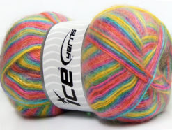 Lot of 4 x 100gr Skeins Ice Yarns ANGORA SUPREME COLOR (70% Angora) Yarn Yellow Turquoise Pink Lilac Salmon