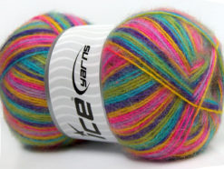 Lot of 4 x 100gr Skeins Ice Yarns ANGORA SUPREME COLOR (70% Angora) Yarn Green Purple Pink Turquoise Yellow