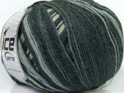 Lot of 4 x 100gr Skeins Ice Yarns ALPACA FINE MAGIC (25% Alpaca 35% Wool) Yarn Black Grey Shades White