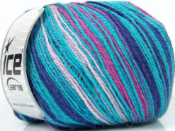 Lot of 4 x 100gr Skeins Ice Yarns ALPACA FINE MAGIC (25% Alpaca 35% Wool) Yarn Turquoise Lilac Fuchsia Blue