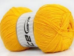 Lot of 4 x 100gr Skeins Ice Yarns LORENA SUPERFINE (55% Cotton) Yarn Yellow